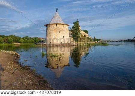The Fat Tower Of The Pskov Kremlin In The Cityscape On A July Day. Pskov, Russia