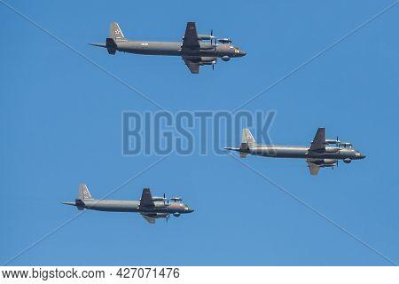 Saint Petersburg, Russia - July 25, 2019: Russian Il-38n Anti-submarine Aircraft Take Part In The Mi
