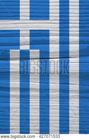Flag Of Greece On Dry Wooden Surface, Cracked With Age. Vertical Background, Wallpaper Or Backdrop W