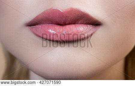Sexy Plump Lips. Close-up Female Mouth. Perfect Natural Lip Makeup. Close Up Part Of Beautiful Woman