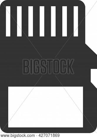 Flat Black Icon Of A Vector Memory Card.