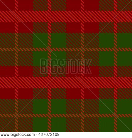 Red And Green Scotland Textile Seamless Pattern. Fabric Texture Check Tartan Plaid. Abstract Geometr