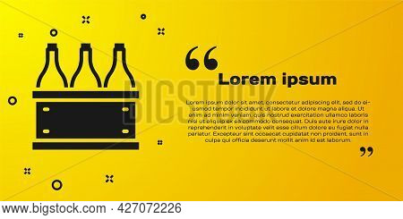 Black Bottles Of Wine In A Wooden Box Icon Isolated On Yellow Background. Wine Bottles In A Wooden C