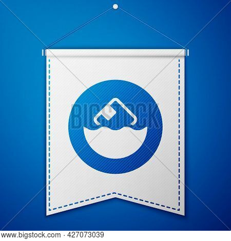 Blue Carton Cardboard Box Icon Isolated On Blue Background. Box, Package, Parcel Sign. Delivery And