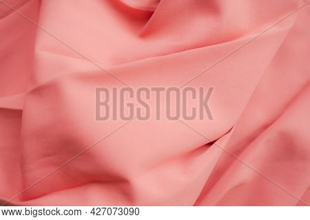 Dark Pink Fabric Texture Abstract Background. New Modern Design Luxurious Light And Soft Wave Smooth