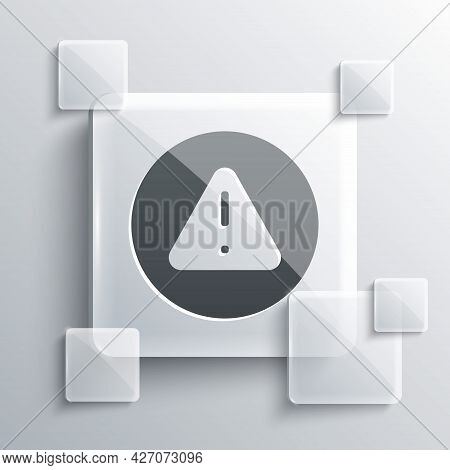 Grey Exclamation Mark In Triangle Icon Isolated On Grey Background. Hazard Warning Sign, Careful, At