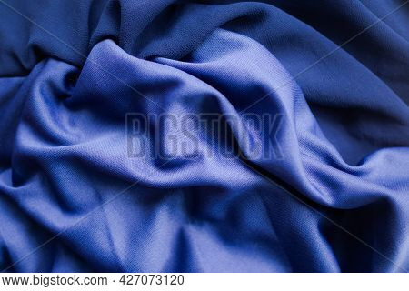 Dark Blue Fabric Texture Abstract Background. New Modern Design Luxurious Light And Soft Wave Smooth