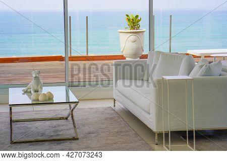 Beautiful Living Room With White Sofa. White Concept Living Room Interior. Modern Bedroom Interior I