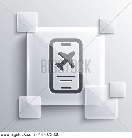 Grey Smartphone With Electronic Boarding Pass Airline Ticket Icon Isolated On Grey Background. Passe