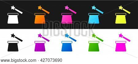 Set Magic Hat And Wand Icon Isolated On Black And White Background. Magic Trick. Mystery Entertainme