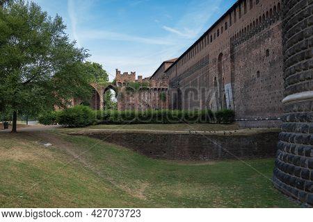 Side View Of Castello Sforzesco In Milan In Italy