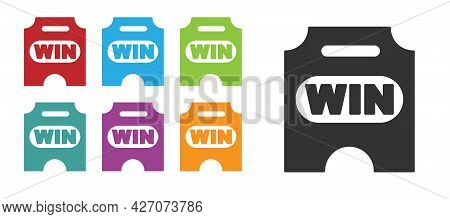 Black Circus Ticket Icon Isolated On White Background. Amusement Park. Set Icons Colorful. Vector
