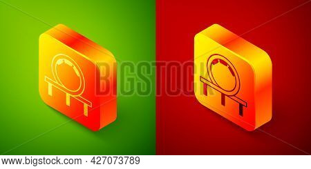 Isometric Roller Coaster Icon Isolated On Green And Red Background. Amusement Park. Childrens Entert