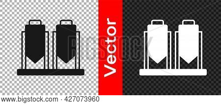 Black Traditional Brewing Vessels In Brewery Icon Isolated On Transparent Background. Beer Brewing P