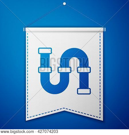 Blue Industry Metallic Pipe Icon Isolated On Blue Background. Plumbing Pipeline Parts Of Different S