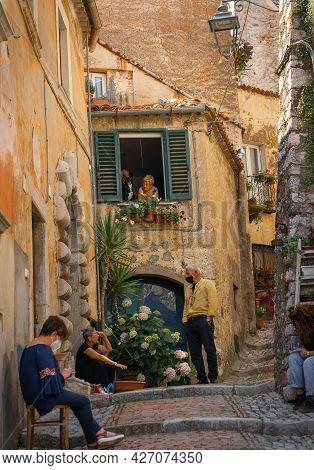 People In Masks On The Street Castro Del Volsci, Fronzinone, Italy