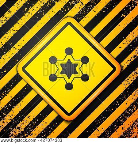 Black Hexagram Sheriff Icon Isolated On Yellow Background. Police Badge Icon. Warning Sign. Vector