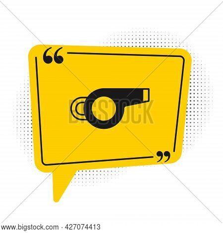 Black Whistle Icon Isolated On White Background. Referee Symbol. Fitness And Sport Sign. Yellow Spee