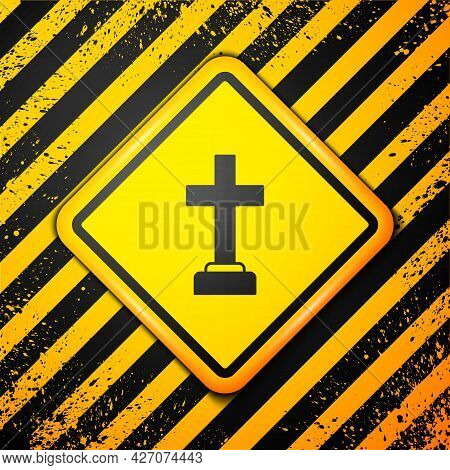 Black Man Graves Funeral Sorrow Icon Isolated On Yellow Background. The Emotion Of Grief, Sadness, S