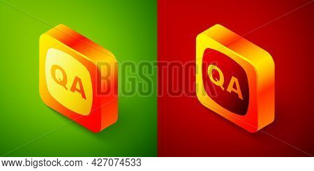 Isometric Speech Bubbles With Question And Answer Icon Isolated On Green And Red Background. Q And A
