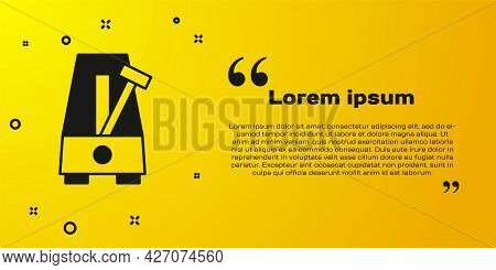 Black Classic Metronome With Pendulum In Motion Icon Isolated On Yellow Background. Equipment Of Mus