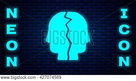 Glowing Neon Bipolar Disorder Icon Isolated On Brick Wall Background. Vector