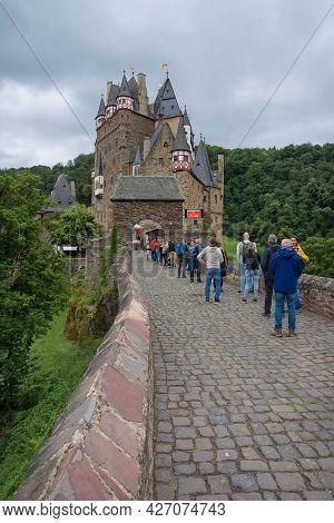 People Queuing To Enter Eltz Castle Near Koblenz, Germany