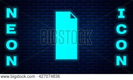 Glowing Neon Grip Tape On A Skateboard Icon Isolated On Brick Wall Background. Vector