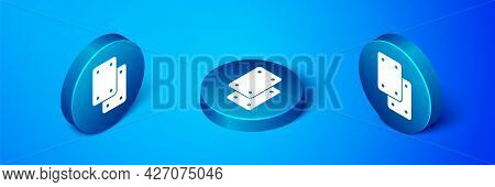 Isometric Knee Pads Icon Isolated On Blue Background. Extreme Sport. Skateboarding, Bicycle, Roller