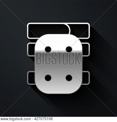 Silver Knee Pads Icon Isolated On Black Background. Extreme Sport. Skateboarding, Bicycle, Roller Sk