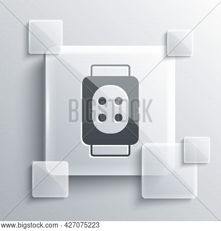 Grey Knee Pads Icon Isolated On Grey Background. Extreme Sport. Skateboarding, Bicycle, Roller Skati