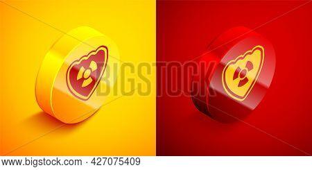Isometric Radioactive In Shield Icon Isolated On Orange And Red Background. Radioactive Toxic Symbol