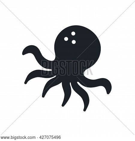Octopus Silhouette. Black Isolated Silhouettes. Fill Solid Icon. Modern Glyph Design. Vector Illustr
