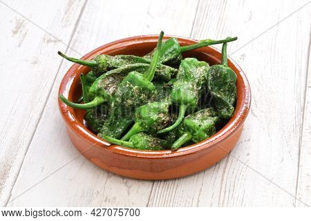 fried spanish padron peppers, pimientos de padron