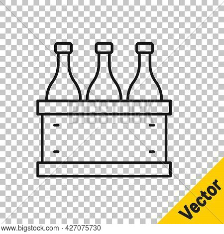 Black Line Bottles Of Wine In A Wooden Box Icon Isolated On Transparent Background. Wine Bottles In