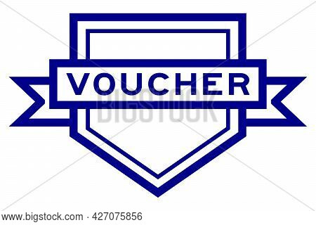 Vintage Blue Color Pentagon Label Banner With Word Voucher On White Background
