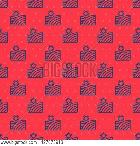 Blue Line Vineyard Wine Grapes Hills Farm Icon Isolated Seamless Pattern On Red Background. Vine Pla