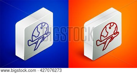 Isometric Line Globe With Flying Plane Icon Isolated On Blue And Orange Background. Airplane Fly Aro