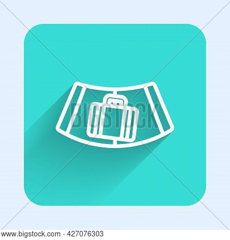 White Line Airport Conveyor Belt With Passenger Luggage, Suitcase, Bag, Baggage Icon Isolated With L