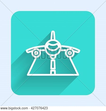 White Line Plane Icon Isolated With Long Shadow Background. Flying Airplane Icon. Airliner Sign. Gre