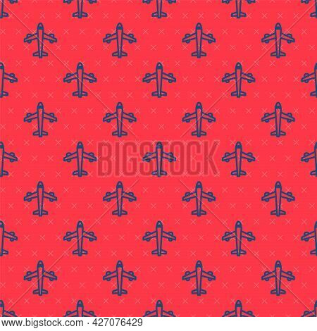 Blue Line Plane Icon Isolated Seamless Pattern On Red Background. Flying Airplane Icon. Airliner Sig