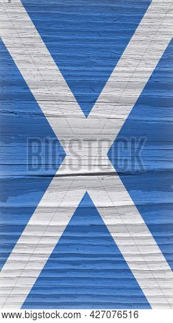 Flag Of Scotland On A Dry Wooden Surface. Vertical Vintage Mobile Phone Wallpaper. Rough Board With