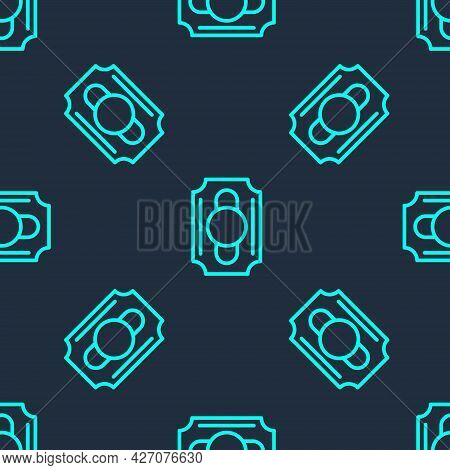 Green Line Circus Ticket Icon Isolated Seamless Pattern On Blue Background. Amusement Park. Vector