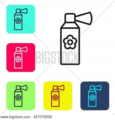 Black Line Air Freshener Spray Bottle Icon Isolated On White Background. Air Freshener Aerosol Bottl