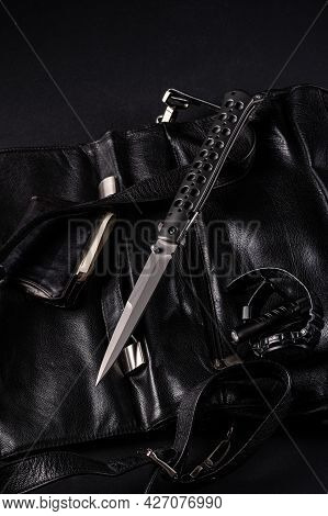 Mens Accessories In Black. Black Style. Large Folding Knife, Watch, Pocket Torch And Wallet. Vertica