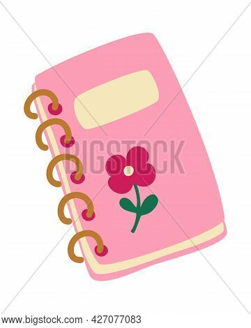 Girly Notepad For Writing. Cute Notebook On A Spring With A Flower. For Studying And Keeping A Diary