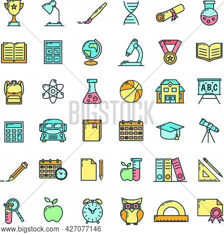 Concept Set Back To School Icon, Educational Institution Process, Outline Flat Vector Illustration,
