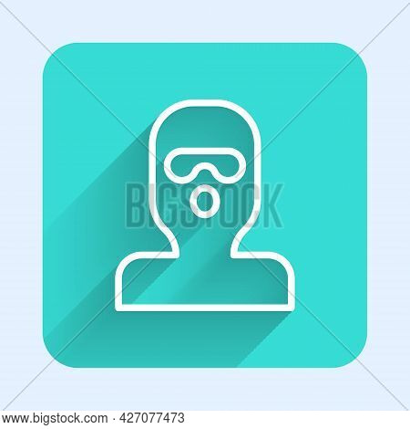 White Line Thief Mask Icon Isolated With Long Shadow Background. Bandit Mask, Criminal Man. Green Sq