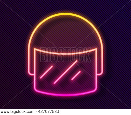 Glowing Neon Line Police Helmet Icon Isolated On Black Background. Military Helmet. Vector