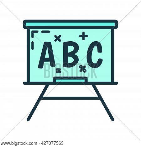 School Blackboard Icon, Educational Institution Process, Back To School Outline Flat Vector Illustra